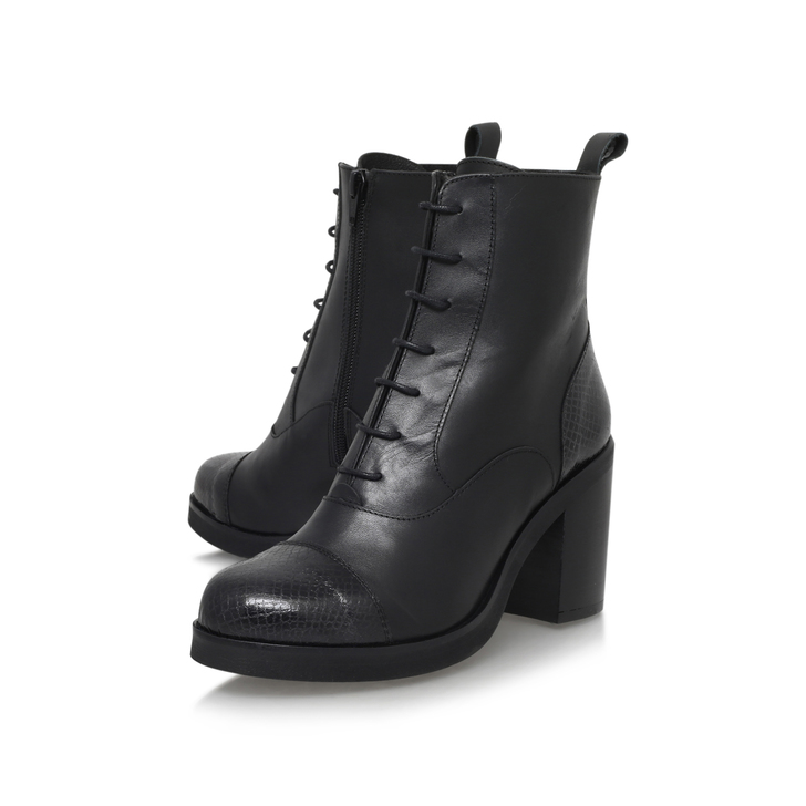 Snap Black Mid Heel Lace Up Boots By