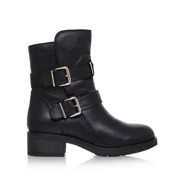 Richmond Black Low Heel Biker Boots By Kurt Geiger London