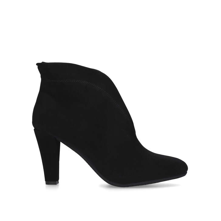 RIDA Black Suede Mid Heel Ankle Boots