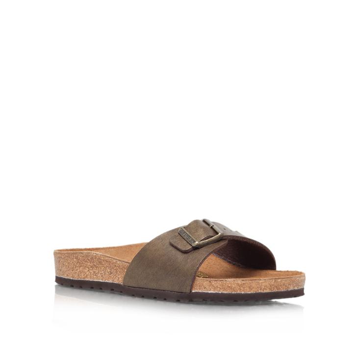 Madrid Bronze Flat Slip On Sandals By Birkenstock Kurt Geiger