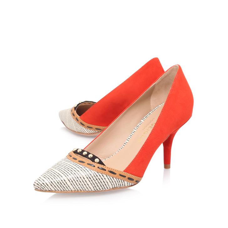 Tikki Red Mid Heel Court Shoes By Kurt Geiger London | Kurt Geiger