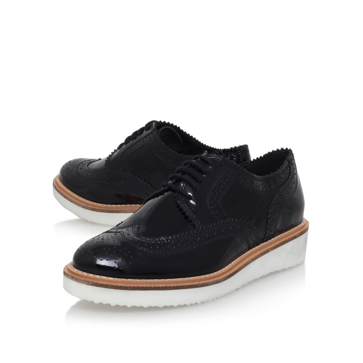 Knox Black Flat Brogue Shoes By KG Kurt