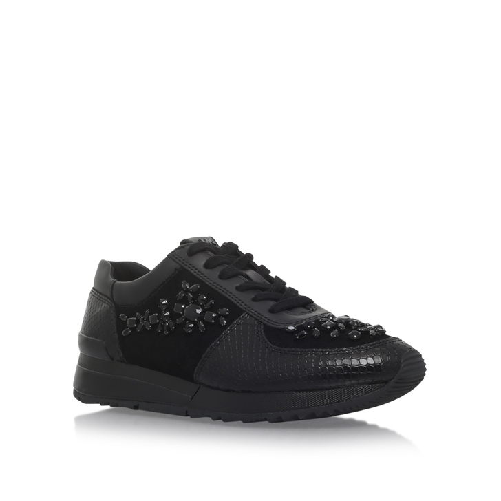 aefe16014e038 Allie Wrap Trainer Black Flat Lace Up Trainers By Michael Michael Kors