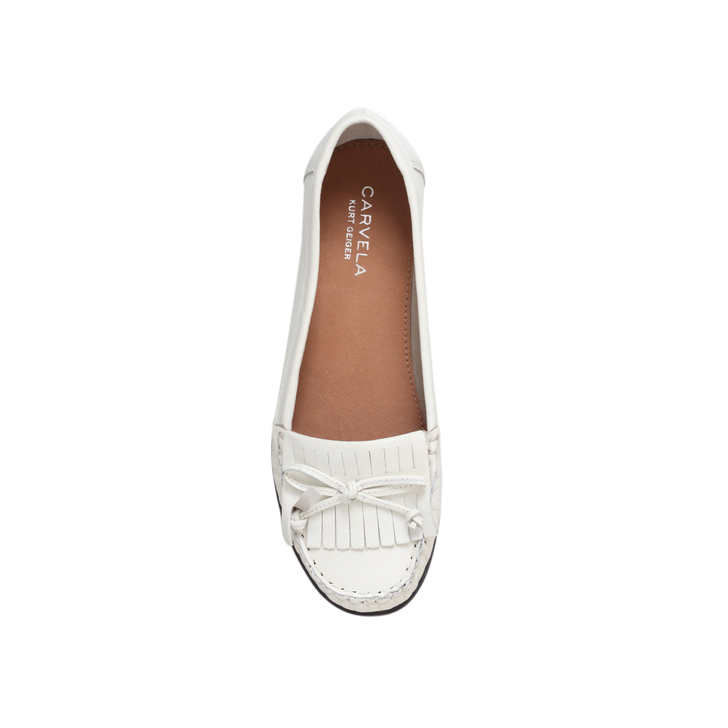Carvela Se Moquant Des Chaussures Plates En Cuir Blanc - K3DyjS22Z