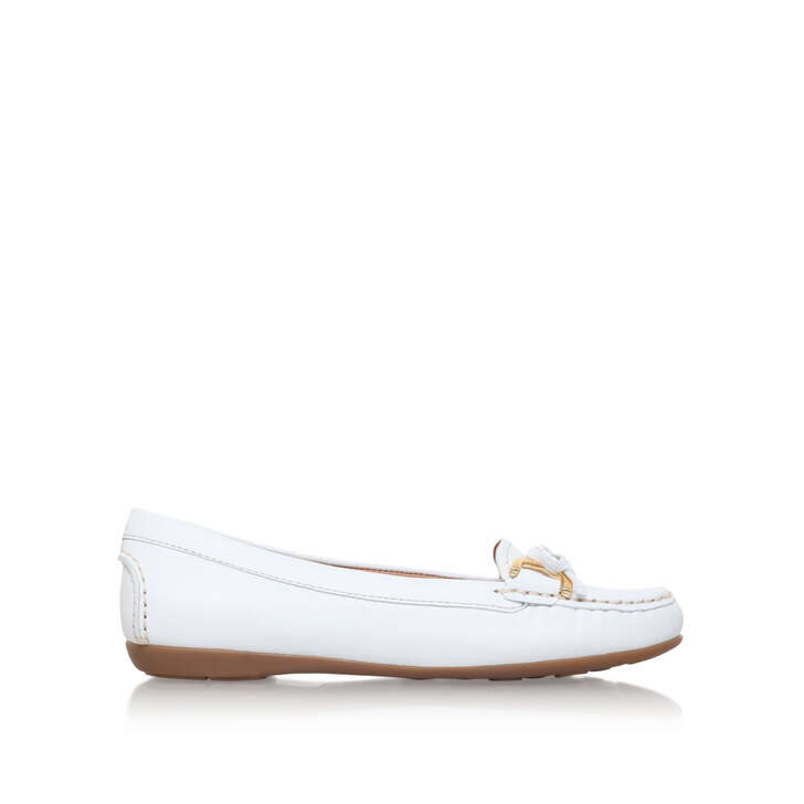 CALLY White Flat Loafer Shoes by