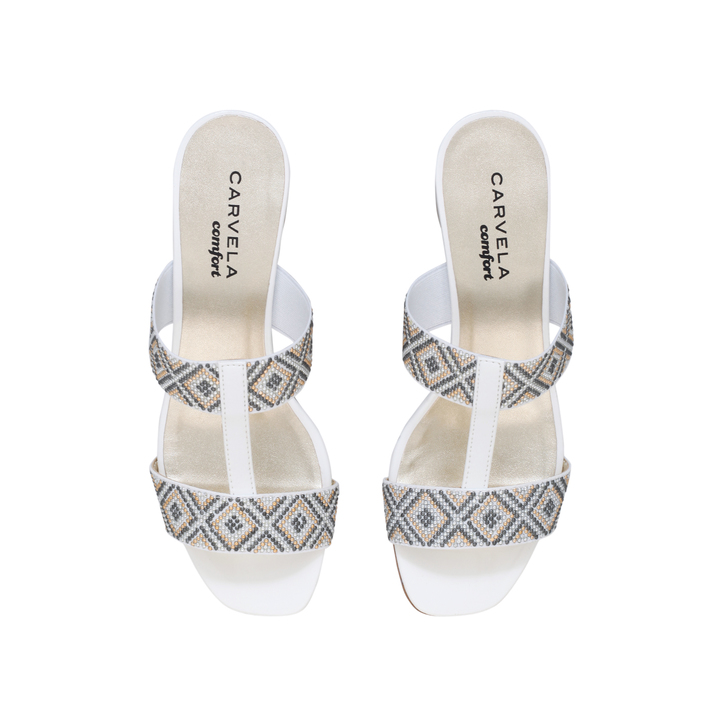 Suzy White Mid Heel Sandals By Carvela