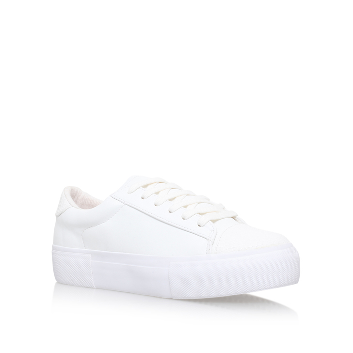 Loco White Flat Low Top Trainers By Miss KG g7RSq1Xn