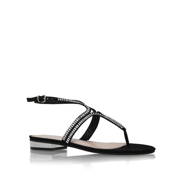 36a08f2bc Bonnie Black Flat Sandals By Carvela | Kurt Geiger