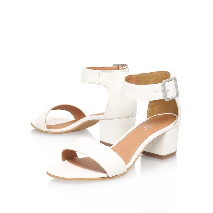 7c106837e8ac Shadow White Mid Heel Sandals By Carvela