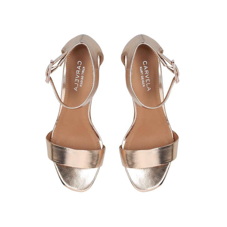 8249f3d7cfce4 Shadow Metallic Block Heel Sandals By Carvela