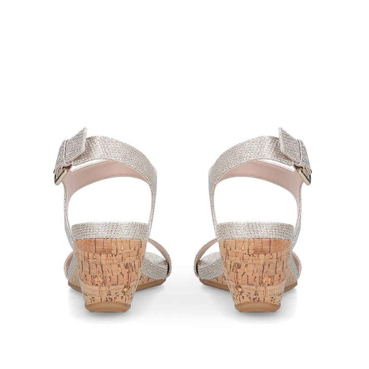 aad509661e8 Sparkle Metallic Wedge Heel Sandals By Carvela