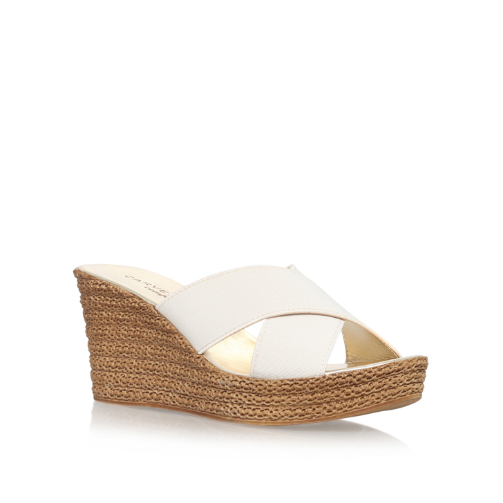 d9b79701482 Sabrina Beige Mid Heel Wedge Sandals By Carvela Comfort