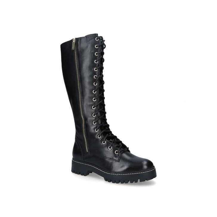 Sip Black Lace Up High Leg Boots By