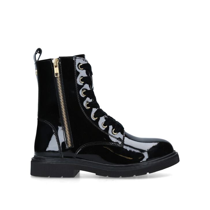 STRATEGY 2 Black Patent Lace Up Boots