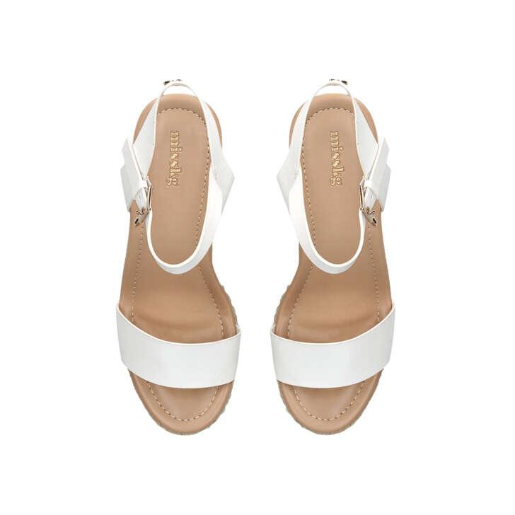 3028dd7b1 Paulina White Mid Heel Wedge Sandals By Miss KG