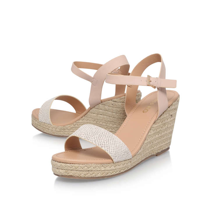 320d8a305dec Paulina Nude Mid Heel Wedge Sandals By Miss KG