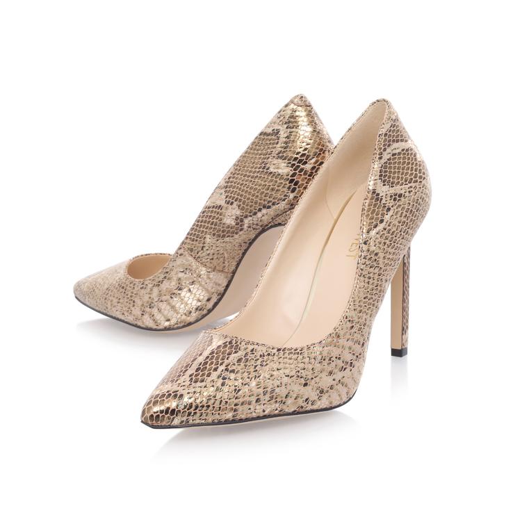 df857a9792a7 Tatiana Gold High Heel Court Shoes By Nine West | Kurt Geiger