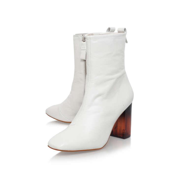 Strut White Mid Heel Ankle Boots By KG Kurt Geiger | Kurt Geiger