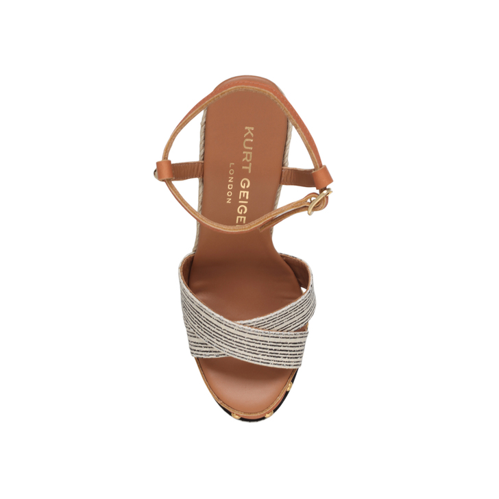 12a91520220a Aria Tan High Heel Wedge Sandals By Kurt Geiger London