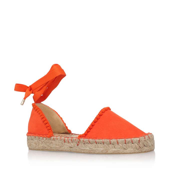 0f297f77bf33 Dizzy Orange Flat Espadrilles By Miss KG