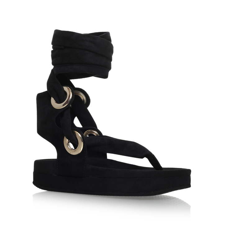 KG By Kurt Geiger Cross Over Sandals In Black Leather - Black Kurt Geiger oaQ13