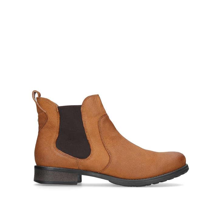 2d89c671ec43 Solid Tan Flat Ankle Boots By Carvela