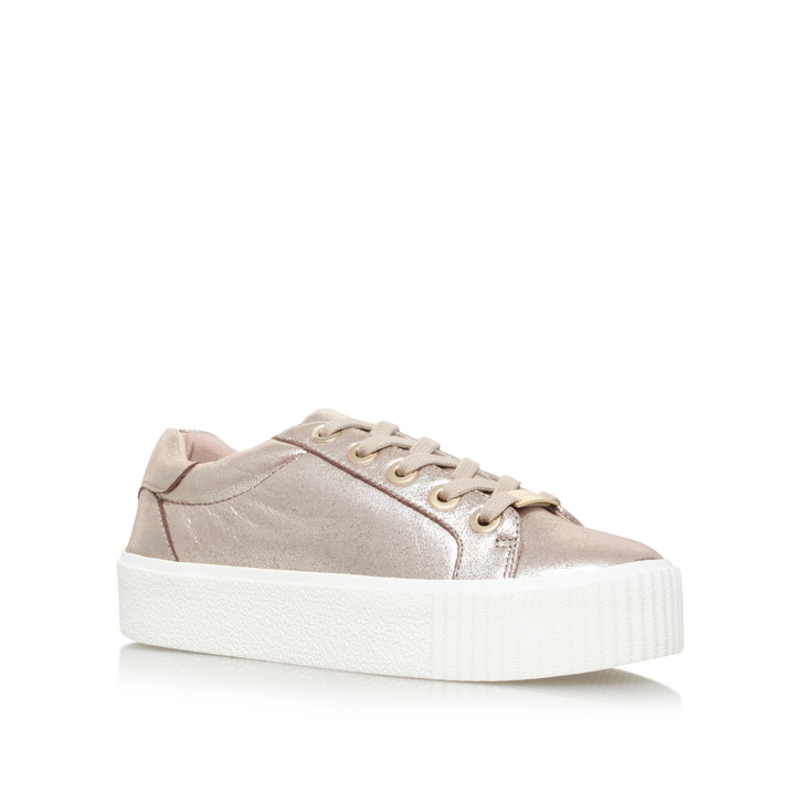 Lindon Gold Flatform Low Top Trainers