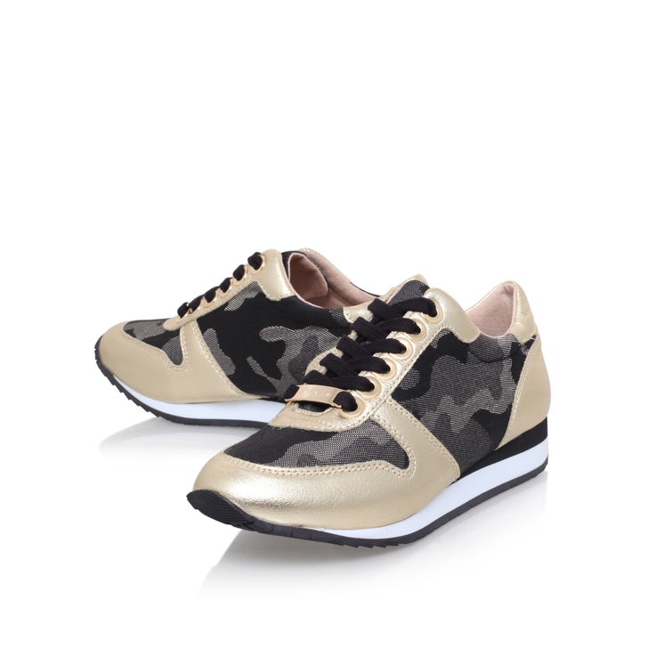 Libby Gold Flat Low Top Trainers By