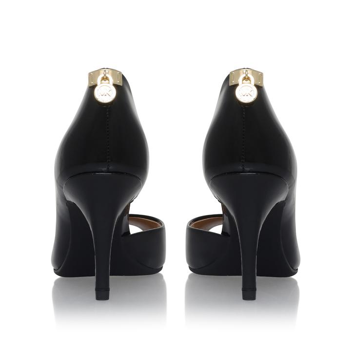 Hamilton Open Toe Flex Black Mid Heel Court Shoes By