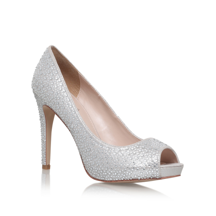 Lara Jewel Silver High Heel Peep Toe Court Shoes By Carvela Kurt ...