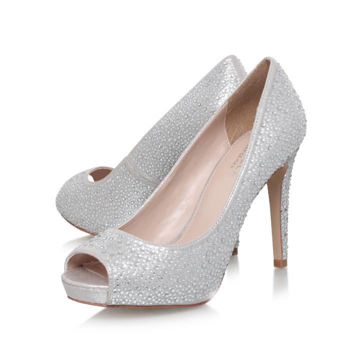 Lara Jewel Silver High Heel Peep Toe Court Shoes By Carvela Kurt ...