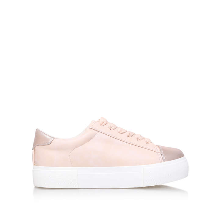 Kamille. Nude Flat Low Top Trainers