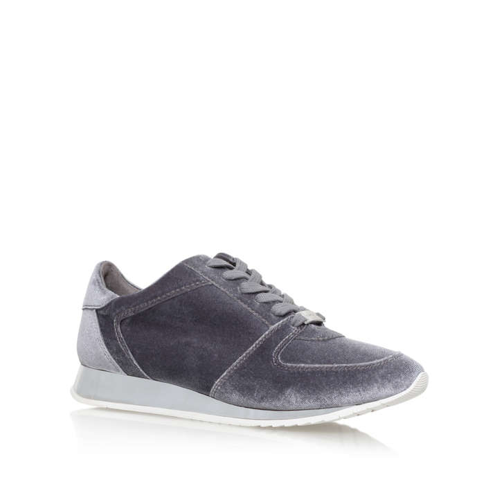 Languid Grey Flat Low Top Trainers By