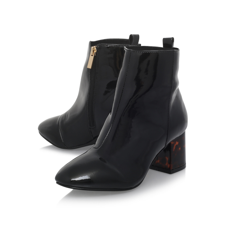 stone black mid heel ankle boots by miss kg kurt geiger. Black Bedroom Furniture Sets. Home Design Ideas
