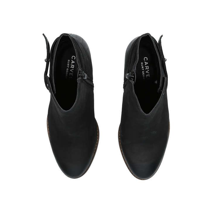 Smart Black Leather Block Heel Ankle