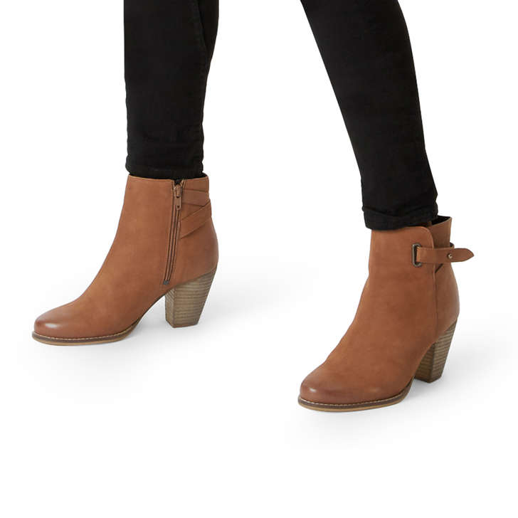 87f91cad1a50 Smart Tan Leather Block Heel Ankle Boots By Carvela