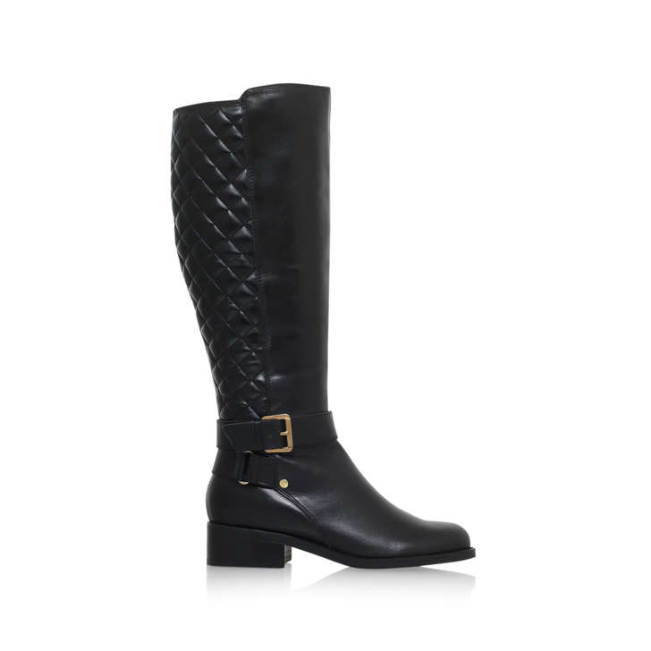 6f4b45a197e Polished. Black Leather Flat Knee Boots