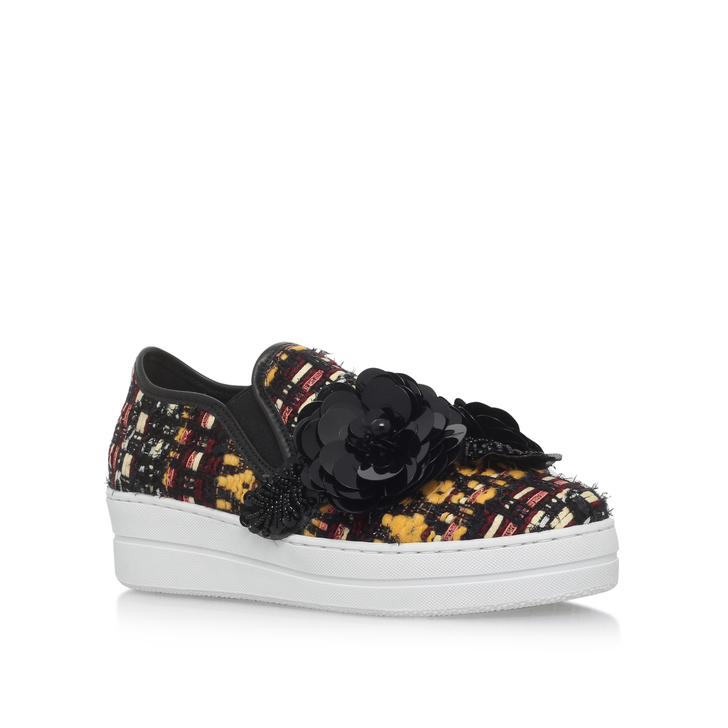 Lamont Mustard Flat Low Top Trainers By