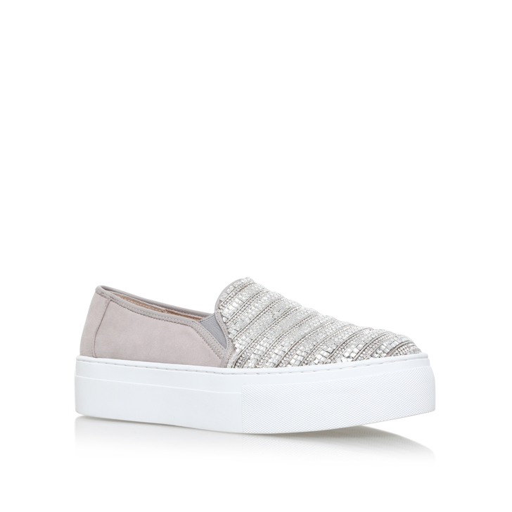 Latina Grey Flat Slip On Trainers By KG