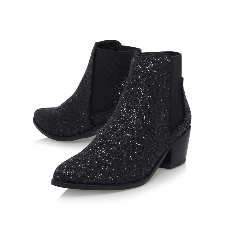 Spider Black Mid Heel Ankle Boots By