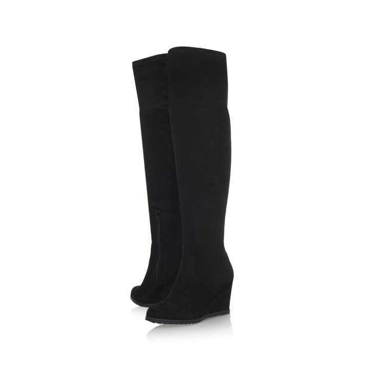 c580923583a Vivien Black Wedge Heel Over The Knee Boots By Miss KG