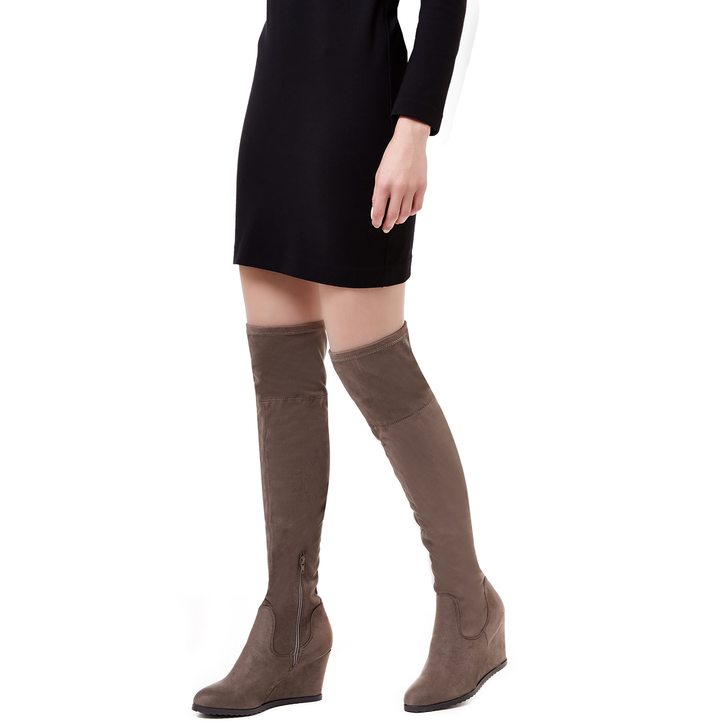4c5c2858b64 Vivien Taupe Wedge Heel Over The Knee Boots By Miss KG