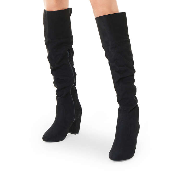 024b1007798 Healey Black Mid Heel Over The Knee Boots By Miss KG