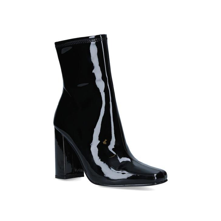 Fulton Black Patent Block Heel Ankle