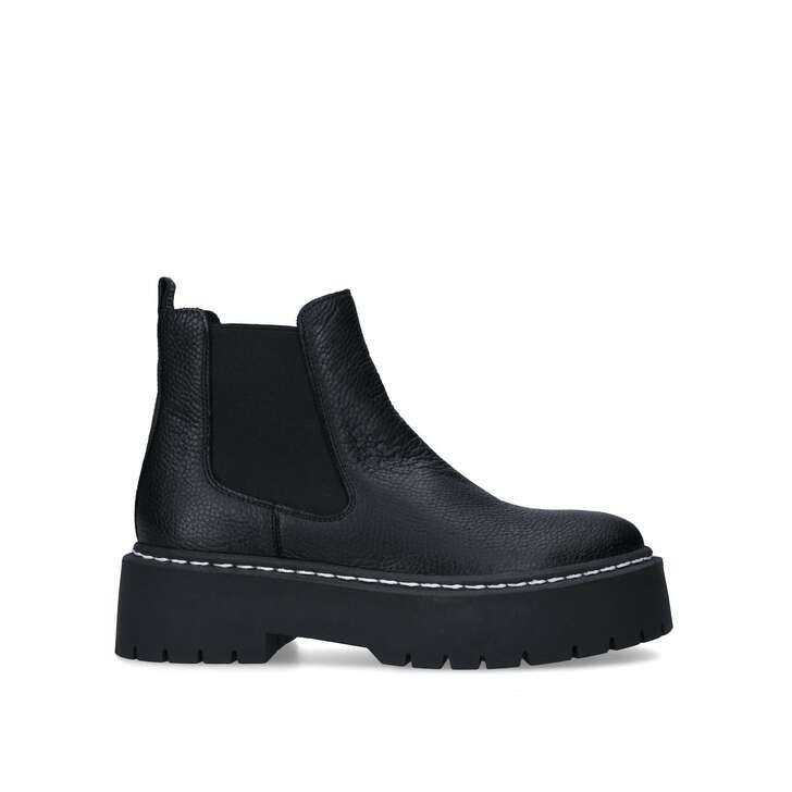 Black Leather Chunky Chelsea Boots