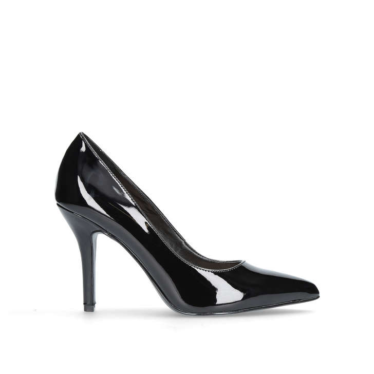 FLAGSHIP Black Mid Heel Court Shoes by