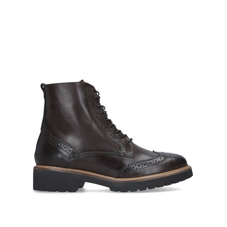 SNAIL Brown Brogue Detailing Lace Up